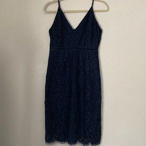 ASTR the label Blue Lace Midi Dress In Medium